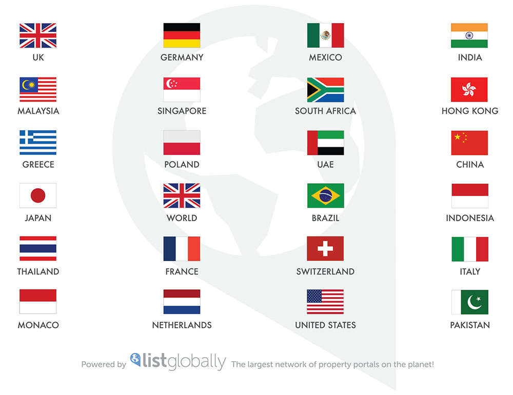 List Globally Partner Countries for showcasing your property on the internet